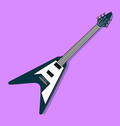 flat electric guitar design with purple vector image