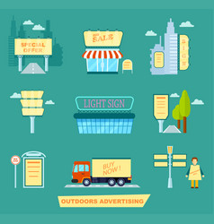 outdoor advertising isolated set vector image