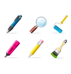 Painting icons brush tools vector image