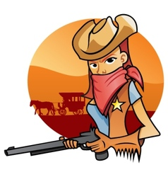 Portrait od Cowgirl vector image vector image