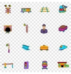 Railroad set icons vector