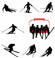 ski silhouettes vector image