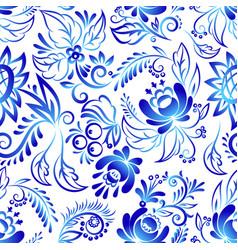 russian ornaments art style gzhel blue flower vector image