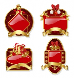 set from red Christmas labels vector image vector image