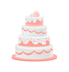 wedding cake decorated with roses vector image