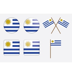 Badges with flag of uruguay vector