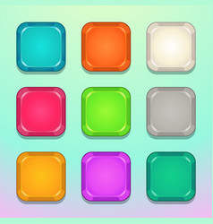 colorful square buttons set vector image vector image