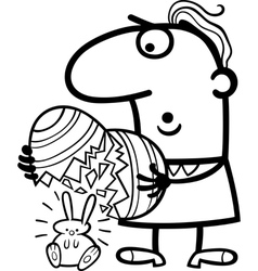 man with easter eggs and bunny cartoon vector image vector image