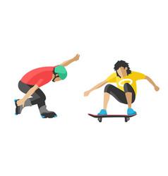 skateboarder jump doing trick in skate park vector image