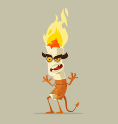 Angry devil cigarette character vector
