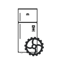 fridge and gear icon vector image vector image