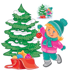 small girl decorating the christmas tree vector image