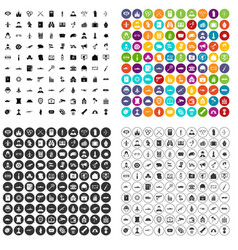100 military icons set variant vector