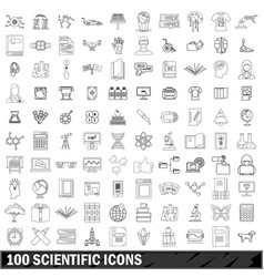 100 scientific icons set outline style vector