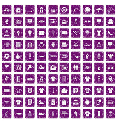 100 t-shirt icons set grunge purple vector