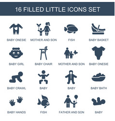 16 little icons vector