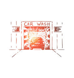 automobile mechanical washing station vector image