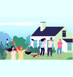 backyard party young people laughing jumping on vector image