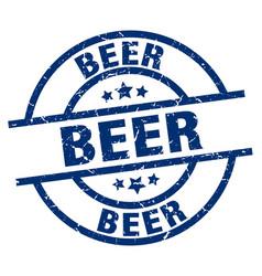 Beer blue round grunge stamp vector