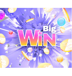 big win abstract theme with golden coins vector image