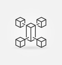 blockchain outline minimal icon block vector image