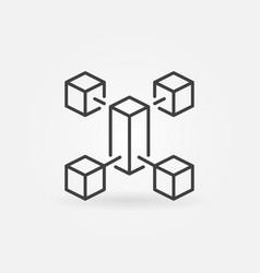 Blockchain outline minimal icon block vector