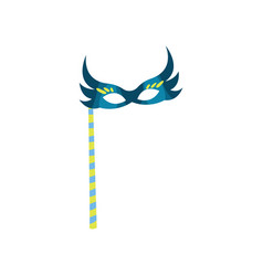 blue masquerade mask on stick for birthday vector image