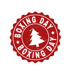 Boxing day scratched stamp seal with fir-tree vector