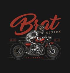 brat style custom motorcycle vintage badge vector image