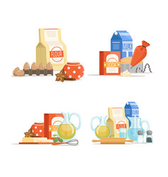 cartoon cooking ingridients or groceries vector image