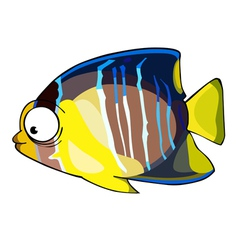 cartoon fish yellow blue vector image