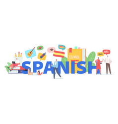 Characters learn spanish language course concept vector