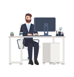 Cheerful male office worker or clerk sitting at vector