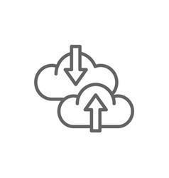 cloud arrow data transfer download loading line vector image