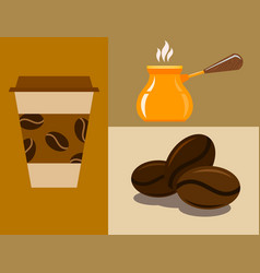 Coffee cup coffeemaker coffeepot takeaway beverage vector