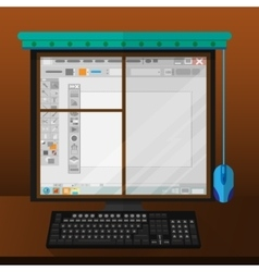 computer monitor like window vector image