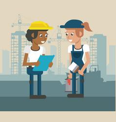 construcion workers geometric cartoons vector image