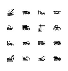 Construction vehicles - flat icons vector