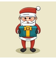 Cute santa claus with blue gift box bow icon vector