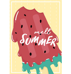 cute sweet red watermelon melted ice cream vector image