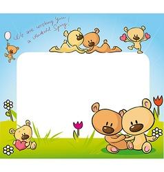 Cute teddy bear in love design - vector