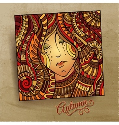 decorative autumn beautiful girl portrait vector image