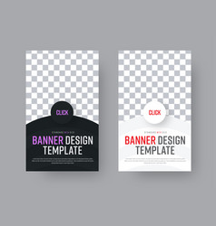 Design a black and white vertical web banner with vector
