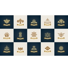 Design logo set Calligraphic pattern elegant vector image