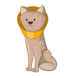Dog wearing funnel cone colla icon cartoon style vector