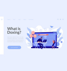 Doxing concept landing page vector