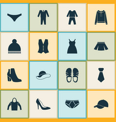 Dress icons set with formal sleepwear dress and vector