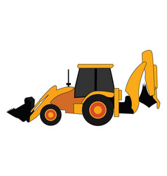 excavator yellow tractor on white background vector image