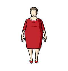 Fat woman in a red dressa fat woman because of vector