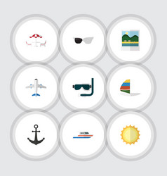 flat icon summer set of surfing reminders boat vector image